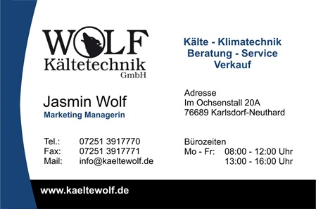 Visitenkarte von Jasmin Wolf - Wolf Kältetechnik - Marketing